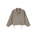 Simple Plain Lapel Collar Long Sleeve Flap Pocket Fashionable Jacket Coat for Women