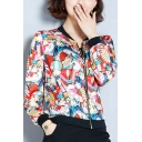 Fashionable Cartoon Girls Armed with Fan Printed Zipper Casual Baseball Jacket Coat