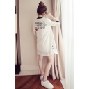 Letter Smile Face Pattern Printed Half Sleeve Longline Sunscreen Trench Coat for Lady