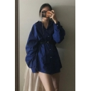 Navy Blue Casual Lapel Collar Single Breasted Longline Oversized Thin Shirt Coat