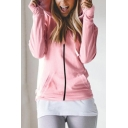 New Stylish Plain Hooded Long Sleeve Zip Up Causal Fitted Coat with Pocket