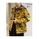 New Trendy Geometric Print Zip Closure Long Sleeve Hooded Fitted Jacket For Men