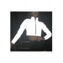 Casual Womens Reflect Light Long Sleeve Zipper Cropped Windbreaker Jacket