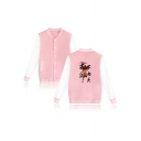 Mens Fashion Comic Figure Letter Pattern Stand Collar Long Sleeve Single Breasted Baseball Jacket