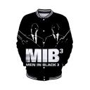New Popular Figure Letter MIB MEN IN BLACK Pattern Rib Stand Collar Long Sleeve Black Baseball Jacket