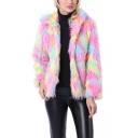 Winter Warm Open Front Long Sleeve Muli-Color ombré Faux Fur Hooded Short Overcoat