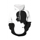 New Arrival Trendy Skull Silhouette 3D Printed Black and White Long Sleeve Loose Hoodie