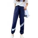 Womens New Stylish High Elastic Waist White Striped Elastic Ankle Detail Casual Sweatpants