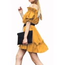 New Trendy Boat Neck Ruffles Puff Sleeve Sashes Plain A-Line Mini Dress
