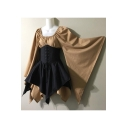 Women's Vintage Medieval Extra Long Sleeve Bell Sleeve Lace-Up Corset Waist Mini Asymmetrical Dress
