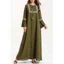 Womens New Fashion Round Neck Bell-Cuff Floral Geometric Pattern Bow-Tied Tassel Green Shift Maxi Dress