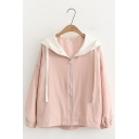 Casual Loose Leisure Plain Hooded Long Sleeve Zip Up Jacket Coat