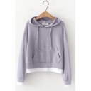 Students Simple Plain Patched Hem Long Sleeve Loose Leisure Hoodie