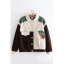 Students Vintage Color Block Lapel Collar Button Front Casual Corduroy Jacket