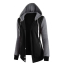 Women Simple Color Block Four-Button Long Sleeve Drawstring Hooded Coat