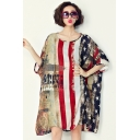 New Trend Round Neck Half Sleeve Star Letter Striped Print Loose Chiffon Shift Midi Dress