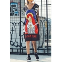 Womens New Trend V-Neck Sleeveless Religion Element Print Letter Pockets Slit Midi T-Shirt Shift Tank Dress
