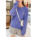 Chic Moon MARINS SERRE Letter Embroidered Round Neck Long Sleeve Sweatshirt