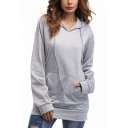 Simple Plain Long Sleeve Gray Hoodie With Pocket