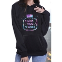 Fashion Halloween DRINK YOUR POISON Letter Bottle Printed Black Loose Fit Hoodie