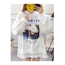 TEENAER Letter Funny Girl Printed High Low Split Hem Side Long Loose Fit Two-Piece Hoodie