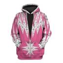 Rocketman Pink Pattern Long Sleeve Sport Loose Drawstring Hoodie