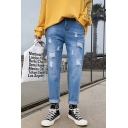 Men's Popular Fashion Light Blue Stretch Relaxed Fit Ripped Jeans
