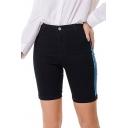 Hot Popular Womens High Waist Striped Side Rolled Hem Washed Slim Fit Denim Shorts