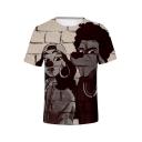Funny Cartoon Figure 3D Printed Round Neck Short Sleeve Grey T-Shirt