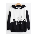 New Arrival Long Sleeve Colorblock Patch Cat Fish Printed Casual Loose Pullover Hoodie