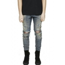 Guys New Stylish Paint Point Printed Knee Cut Blue Slim Fit Frayed Ripped Jeans