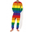 Unisex Hot Fashion Colorblock Striped Rainbow 3D Printed Drawstring Hoodie Long Sleeve Yellow Zip Up Jumpsuits