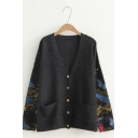 Womens Long Sleeve V Neck Single-Breasted Letter Butterfly Leaf Printed Knitted Cardigan