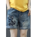 Summer Hot Trendy Blue Drawstring Cord Ripped Rolled Cuff Cat Printed Straight Denim Shorts