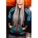Cool Unique Black Long Sleeve Owl Printed Casual Loose Pullover Hoodie for Couple