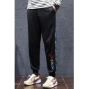 Guys Trendy Colored Stripe Side Letter Pattern Black Casual Relaxed Jogging Sweatpants