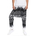 Unisex Unique Printed Loose Fit Casual Baggy Drop-Crotch Harem Pants