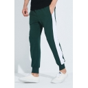 Trendy Colorblock Patched Side Men's Green Relaxed Fit Casual Sports Sweatpants