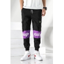 Men's Trendy Colorblock Letter IMAGINATION Printed Drawstring Waist Elastic Cuffs Black Casual Cargo Pants
