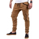 Men's Popular Fashion Solid Color Flap Pocket Side Drawstring Waist Elastic Cuffs Casual Slim Cargo Pants