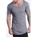 Solid Color Short Sleeve Round Neck Chest Pocket Front Mens T Shirt