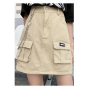 Summer Hot Cool High Waist Multi Pocket Chain Embellished Slim Fit Mini A-Line Cargo Skirt