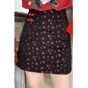 Red Vintage High Waist Floral Jacquard Holiday Mini A-Line Skirt