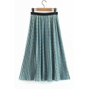 Elegant Green Elastic Waist Geometric Printed Loose Pleated Midi Skirt