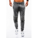 Men's Popular Fashion Pleated Patched Simple Plain Drawstring Waist Casual Cotton Jogging Sweatpants