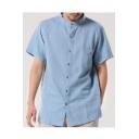 サマーブルー半袖スタンドカラーボタンダウンカジュアルルーズシャツ
