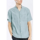 Mens Plain Short Sleeve Stand Collar Button Down Casual Loose Shirt with Pocket