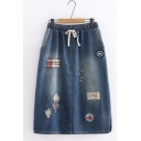 Blue Elastic Waist Slit Side Ripped Car Shield Cartoon Embroidered Straight Midi Denim Skirt