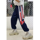 Unisex Street Style Fashion Colorblock Stripe Printed Loose Fit Hip Pop Track Pants