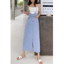 Fashion Baze Blue Straps High Waist Split Front Casual Loose Midi Denim Skirt
